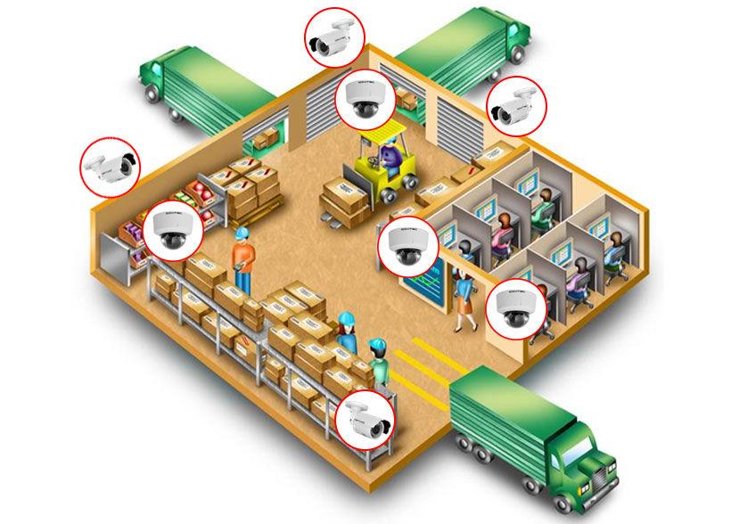 Система видеонаблюдения для склада - пример установки камер